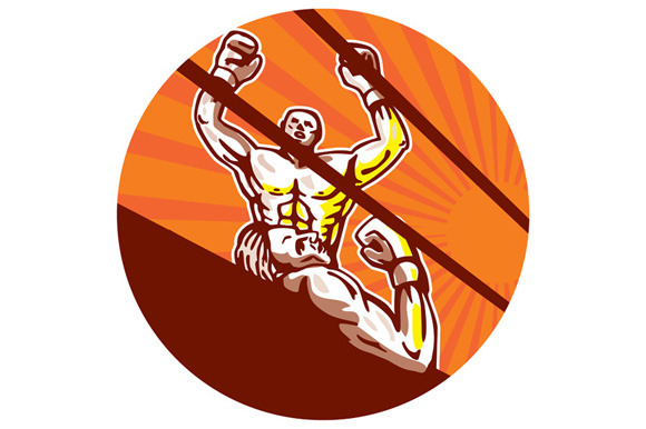 Amateur Boxer Winning Circle Cartoon