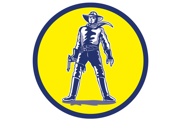 Cowboy Standing With Pistol Cartoon