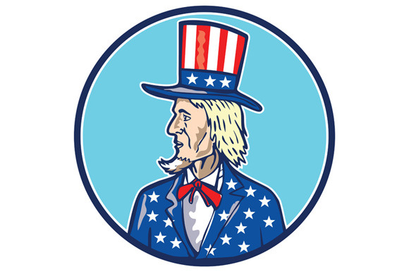 Uncle Sam TopHat American Flag Carto