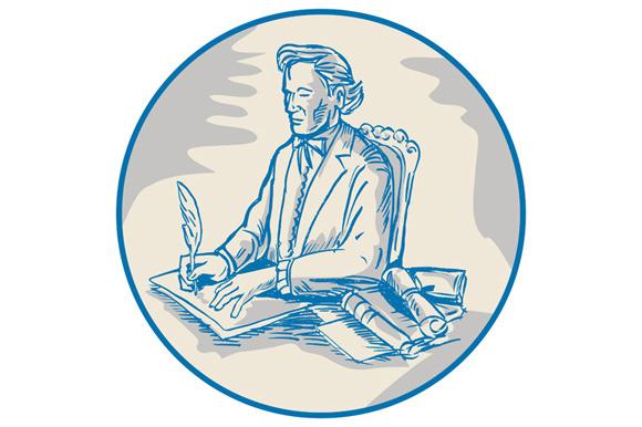 Victorian Gentleman Quill Signing Ca