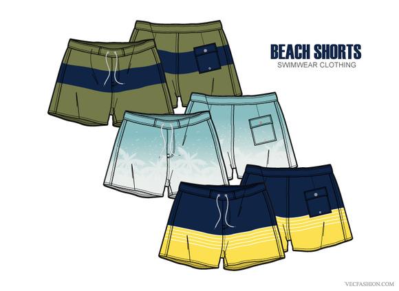 Men Beach Shorts Vector Apparel