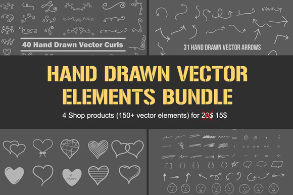 Hand Drawn Vector Elements BUNDLE