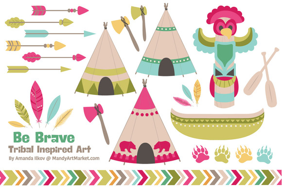 Bohemian Tribal Clipart Vectors