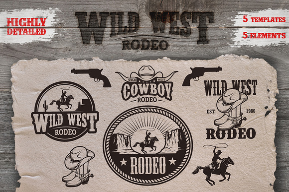Set Of Cowboy Rodeo Emblems