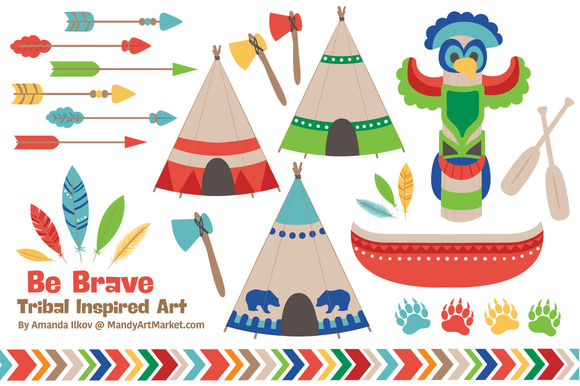 Bright Tribal Clipart Vectors