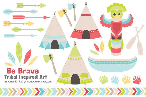 Spring Tribal Vectors Clipart