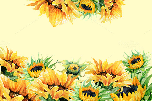 Watercolor Clipart Sunflowers