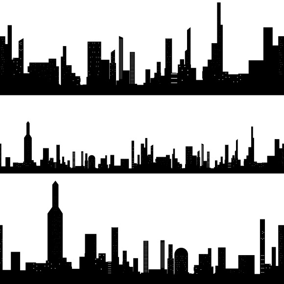 Black Silhouette Seamless Cityscapes