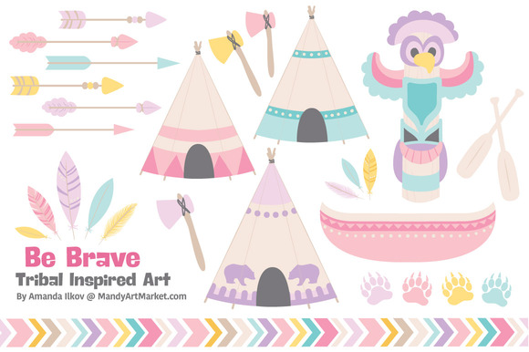 Girls Tribal Vectors Clipart