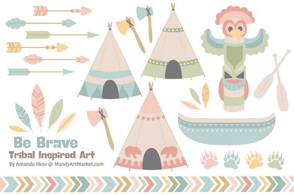Pretty Tribal Clip Art Vectors