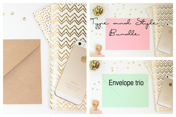 Styled Envelope Trio Stock Photo