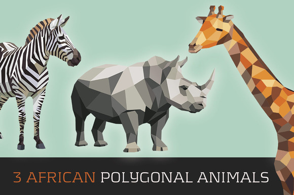 3 AfricanPolygonal Animals