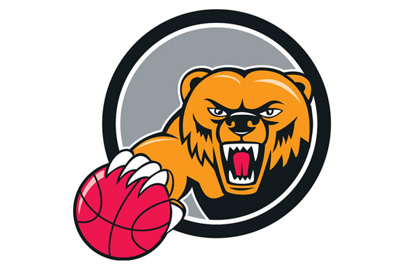 Grizzly Bear Angry Head Basketball C