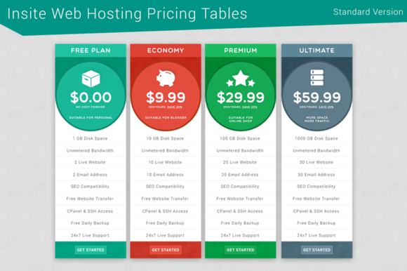 Insite Web Hosting Pricing Tables