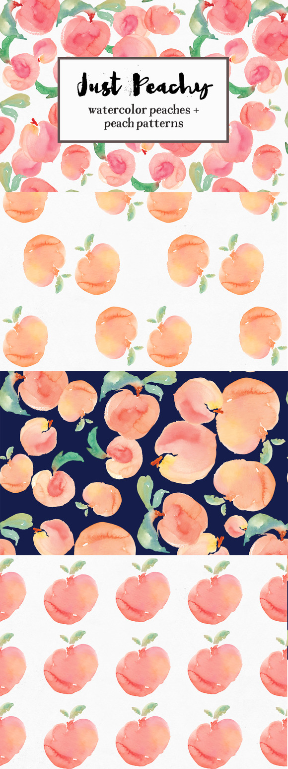Watercolor Peach Patterns Peaches