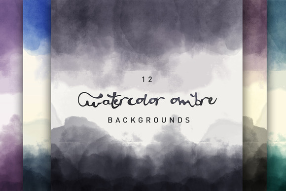 12 Watercolor Ombre Backgrounds