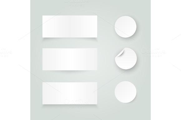 Set Of White Paper Stickers On White