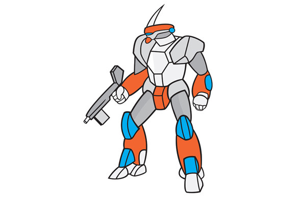 Mecha Robot Holding Ray Gun Isolated