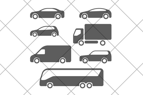 Car Truck Bus Suv Icons