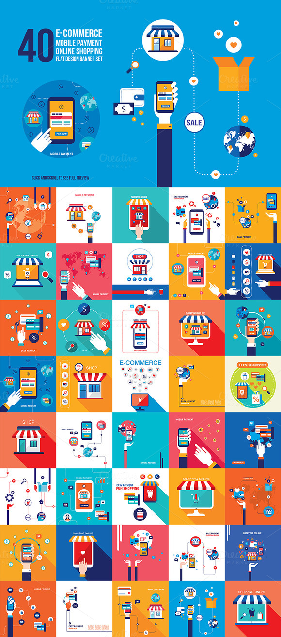 40 Shopping Infographic Banner Set