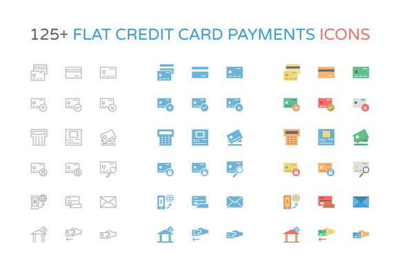 125 Flat Credit Card Payment Icons