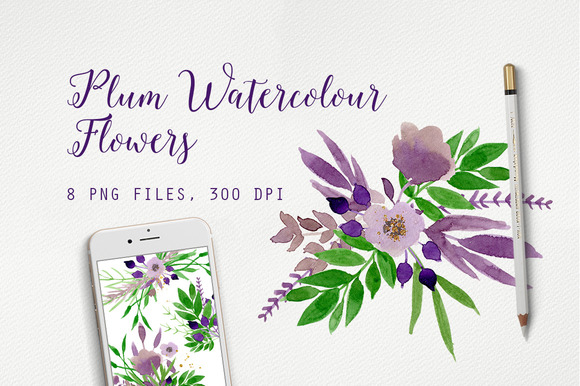Plum Watercolour Flowers