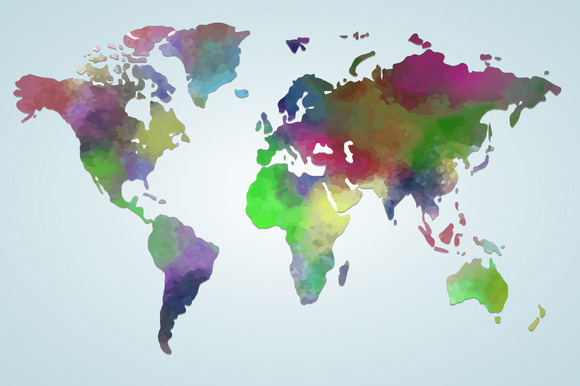 Vector Watercolor Map