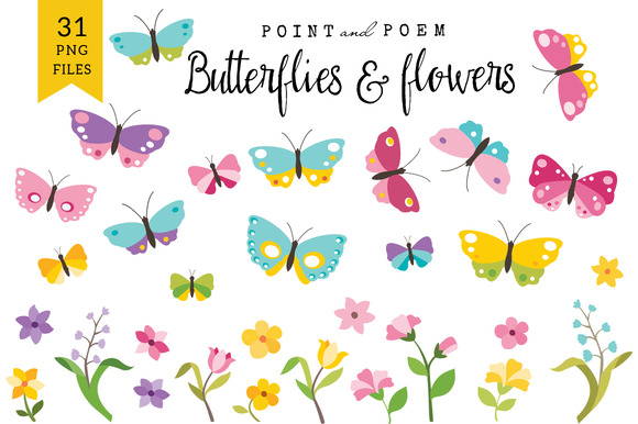 Butterflies Flowers Clip Arts