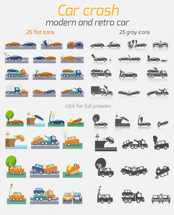 50 Car Crash Road Accident Icons