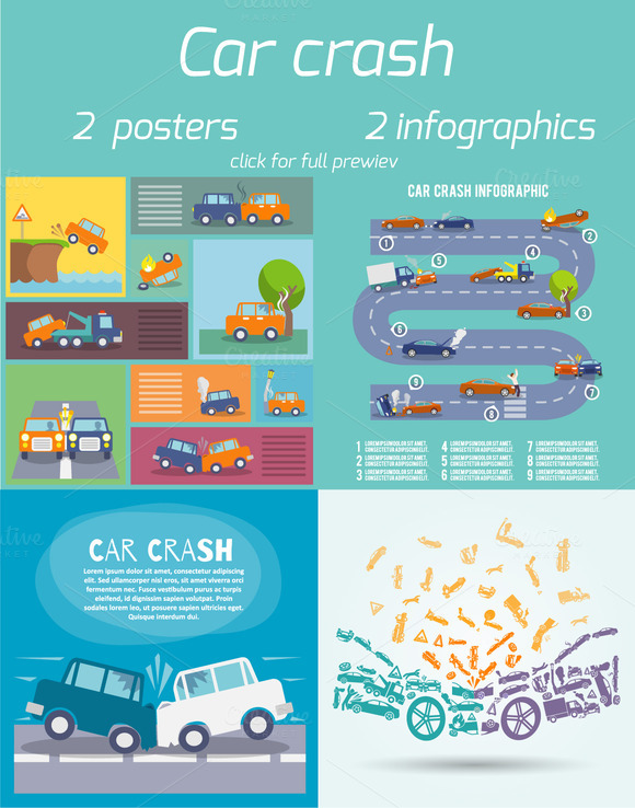 4 Car Crash Infographics And Posters