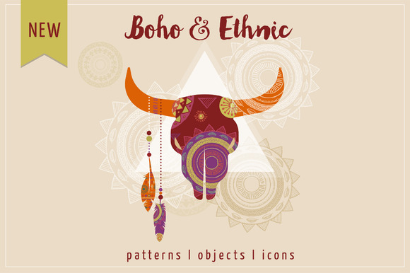 Boho Ethnic Set Patterns Icons