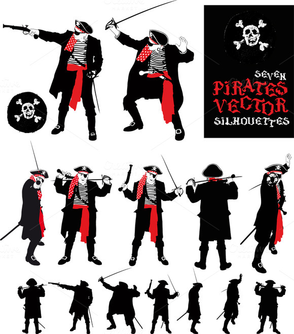 Seven Silhouette Of An Evil Pirate