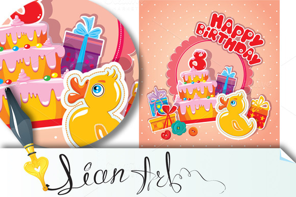 Baby Birthday Card With Yellow Duck