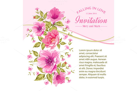 Invitation Card Template With Flower
