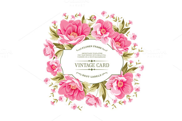 Luxurious Vintage Card Of Peonies