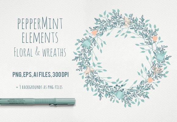 Peppermint Floral Elements