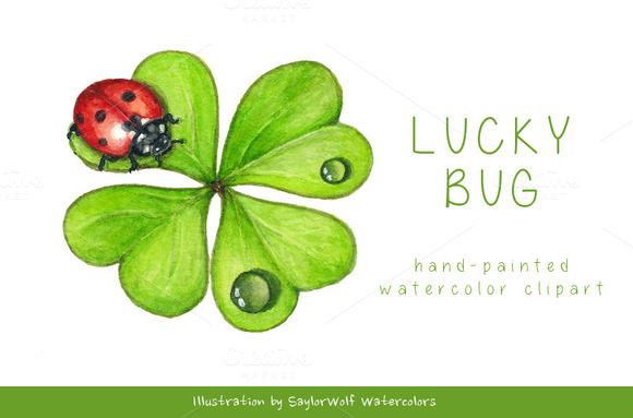 Ladybug And Shamrock Clip Art