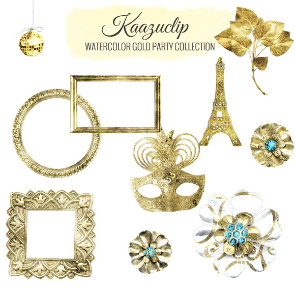 Watercolor Gold Party Collection