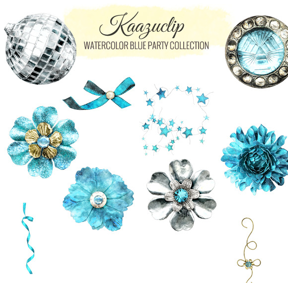 Watercolor Blue Party Collection