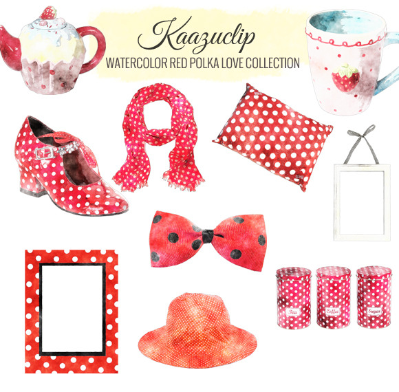 Watercolor Red Polka Love Collection