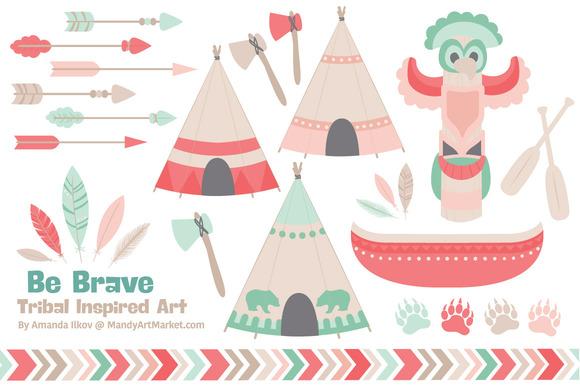 Mint Coral Tribal Vector Clip Art