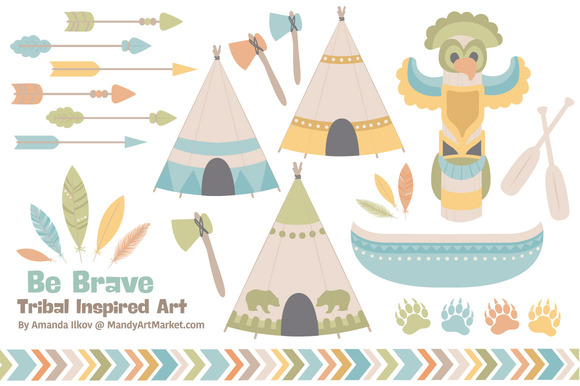 Vintage Tribal Clip Art Vectors