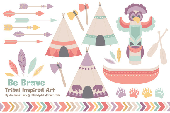 Vintage Tribal ClipArt Vectors
