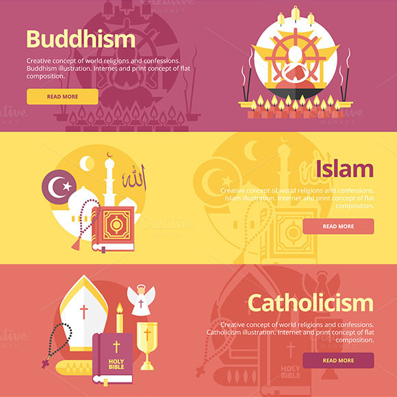 Flat Religions Concept Banners Set