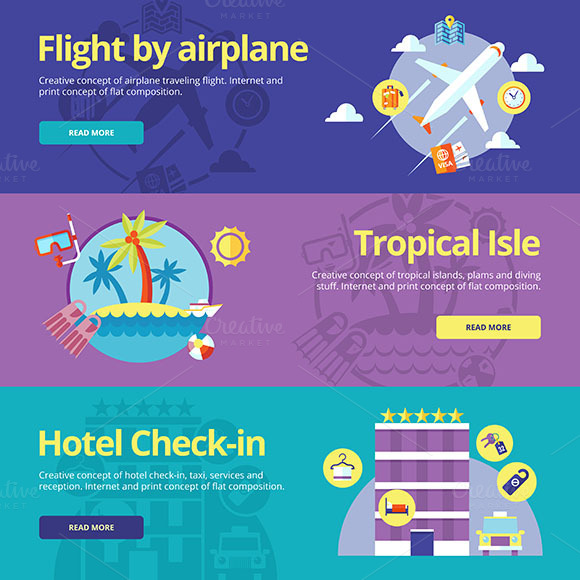 Flat Travel Vector Banners Set