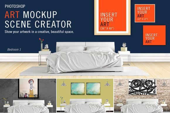 Art Mockup Scene Creator Bed1