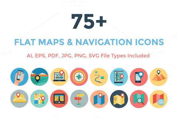 75 Flat Maps And Navigation Icons