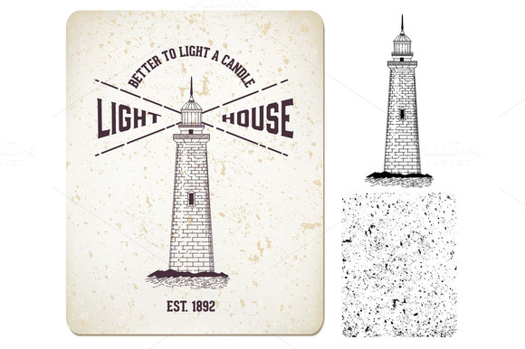 Vector Vintage Label Lighthouse