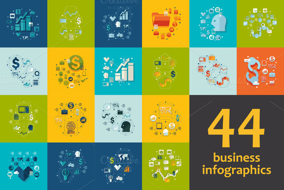 44 BUSINESS FLAT Infographics
