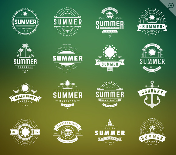 16 Summer Holidays Badges Labels